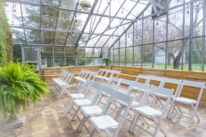 Our romantic Greenhouse makes for a lovely chapel.
