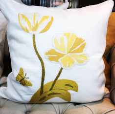 Embroidered Tulip Pillow in Linen