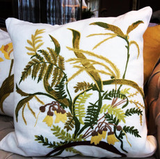Embroidered Fern Pillow in Linen