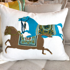 Embroidered Linen Equestrian Pillow I