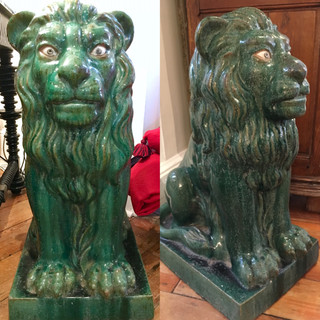 Green Pottery Lions