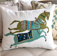 Embroidered Linen Equestrian Pillow II