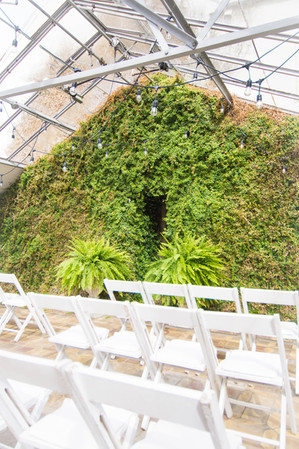 Our Living Green Wall in the Greenhouse makes for a stunning backdrop to your intimate ceremony for 50.