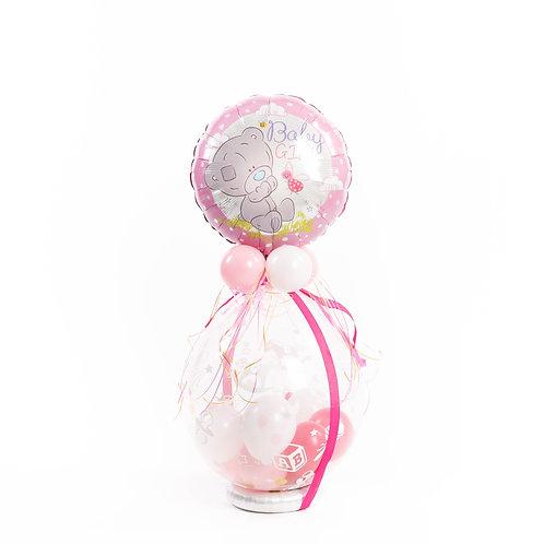 Gevulde ballon / Idee 3 (latex topballon werd vervangen door boy/girl ballon)
