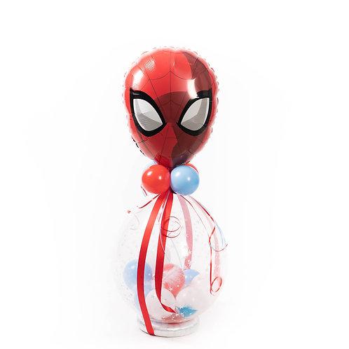 Gevulde ballon / Idee 3 (latex topballon werd vervangen door een spiderman)