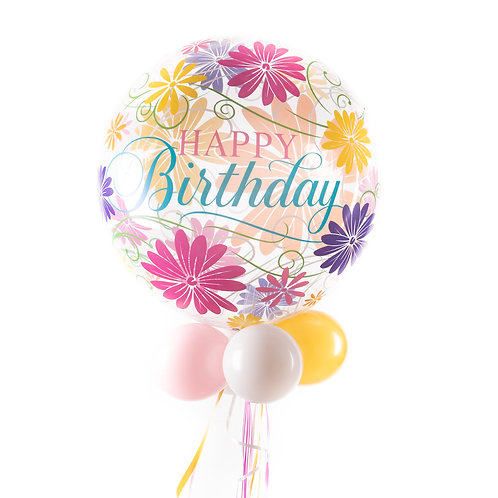 Bubbelballon - Verjaardag - Bloemen en tekst!