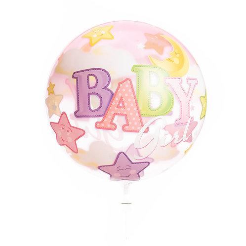 Bubbelballon - Baby (jongen/blauw of meisje/roze)