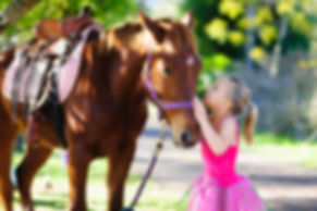 Child loves her hors during pony party