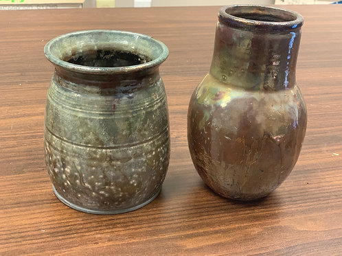 Lot 122 - Metallic Vases