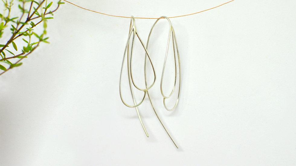 Double drop - Silver earrings