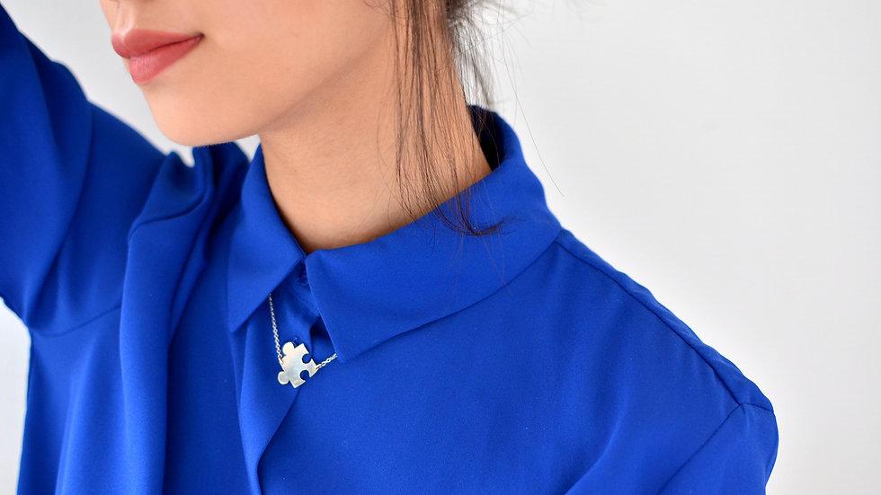 Collier Puzzle Bleu