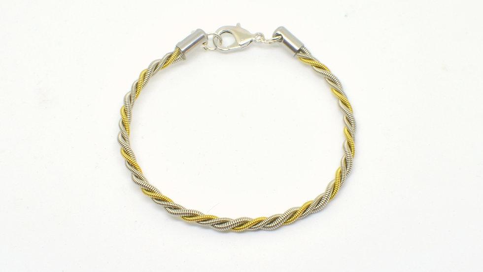 Bracelet épais bi-colore -doré/rhodium