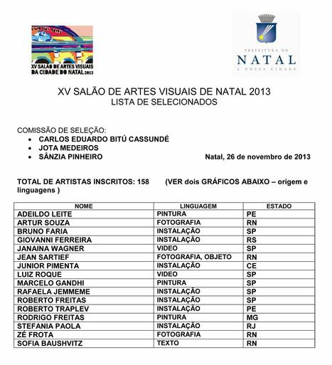 XV SALÃO DE ARTES VISUAIS DE NATAL 2013