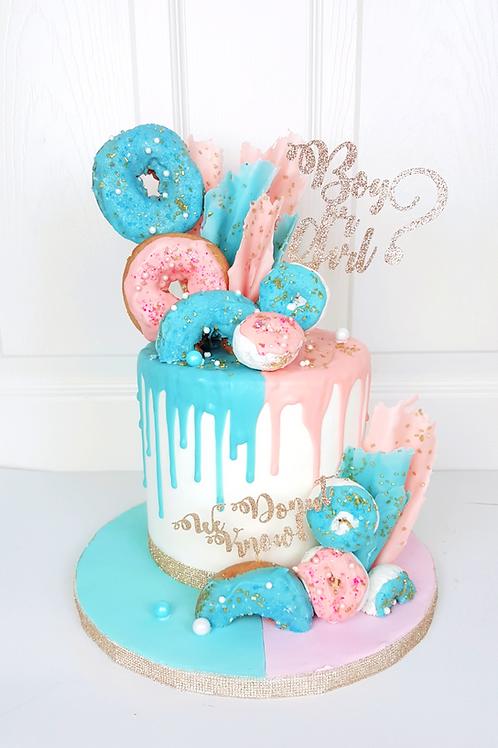 Gender Reveal Doughnut Cake