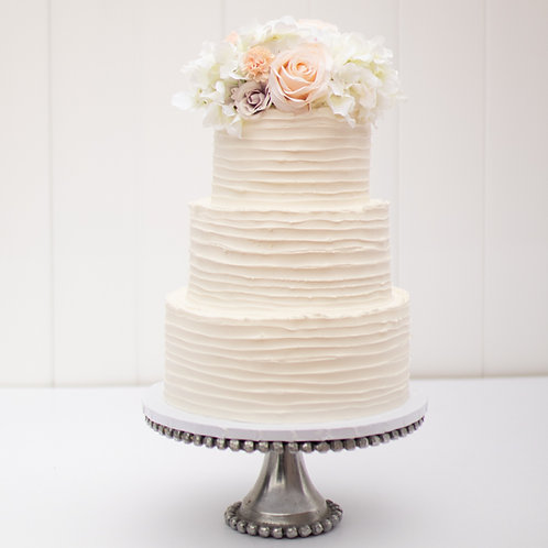 The Elena   Rustic Striped Wedding Cake - 50% DEPOSIT