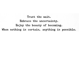 Trust the wait. Embrace the uncertainty. Enjoy the beauty of becoming. When nothing is certain, anyt
