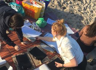 Mono-prints on the beach