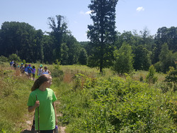 kids hiking on meadow trail