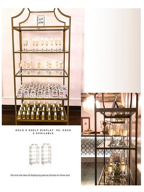 Bold 5-Shelf Gold Glass Display
