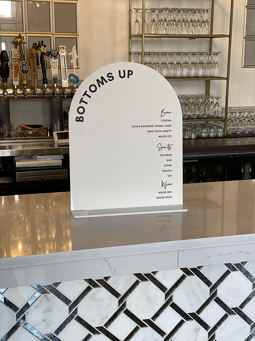 White Acrylic Catering Menu Display