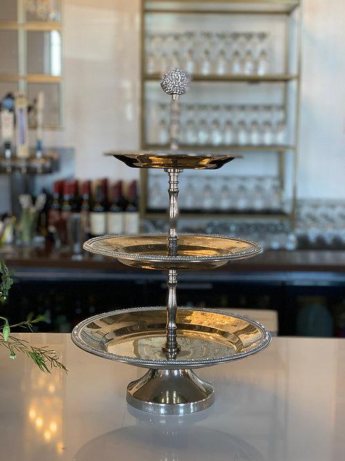 Silver Crystal Ball Cupcake Stand