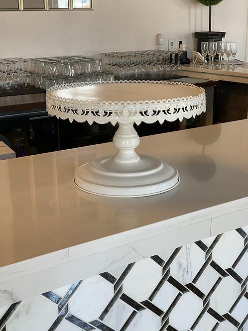 White Ornate Cake Stand