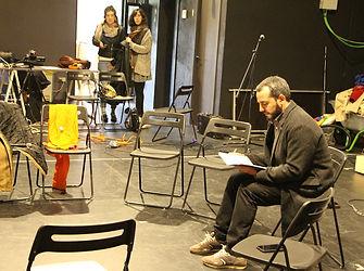Antonio Rojano en un ensayo de Catástrofe de La Caja Flotante
