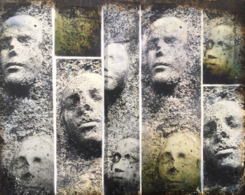 Talking Heads, encaustic