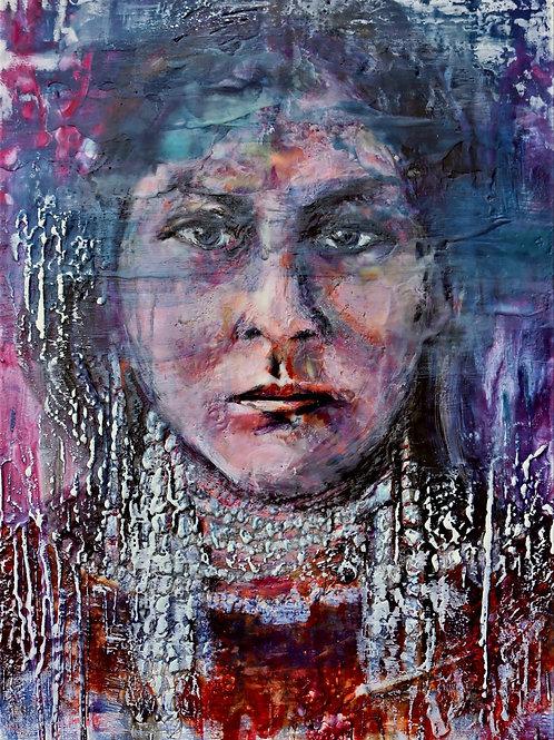 Lozen II- Native Women Warriors series 16.5 x 23 on cradled wood panel