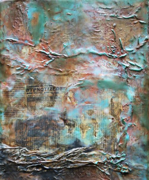 Hypnotized. Encaustic, rust, silk.