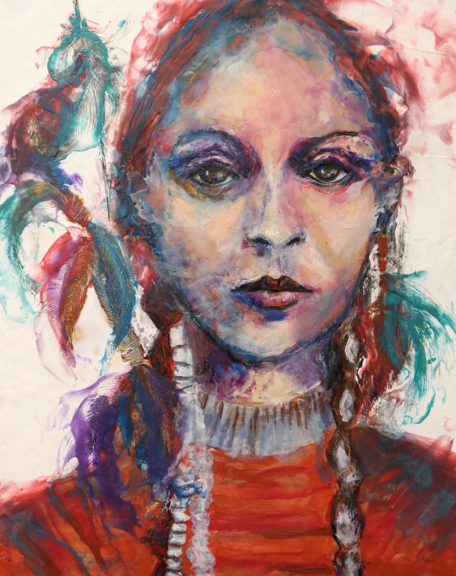 Native Women Warriors, encaustic wax portrait, 16x20, alison fullerton art