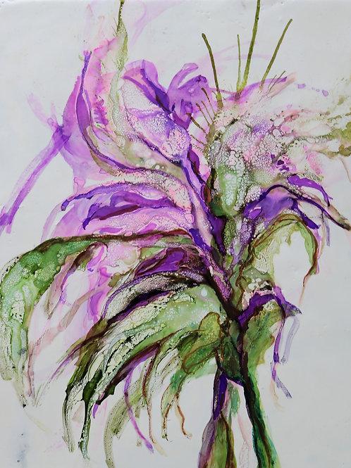 Purple Rain, 11x14. Encaustic and mixed media