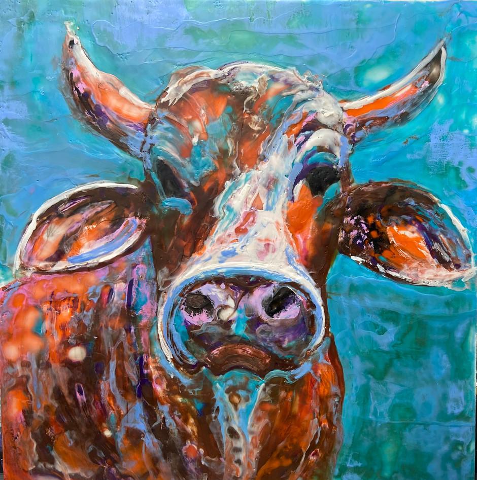 Cathy's Cows, encaustic wax portrait, 16x20, alison fullerton art
