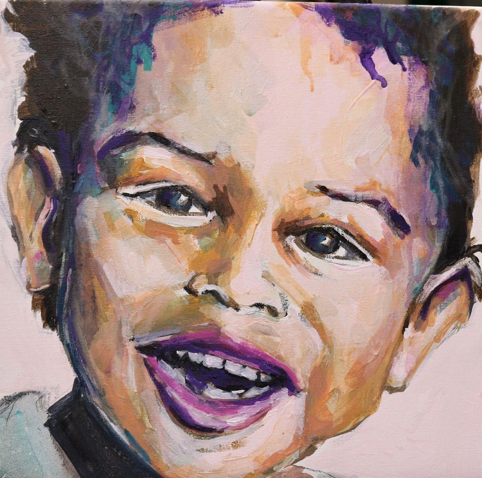 Zoom Babies, 12x12, acrylic portrait, alison fullerton art