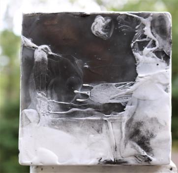 encaustic cube close up
