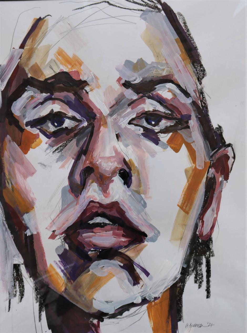 Androgenous, acrylic portrait, 18x24, alison fullerton art