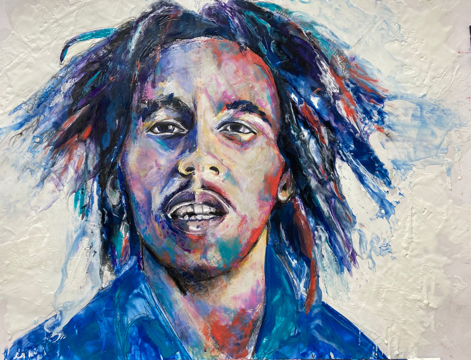 One Love. Bob Marley. Encaustic Wax Portrait 18x24, Alison Fullerton Art