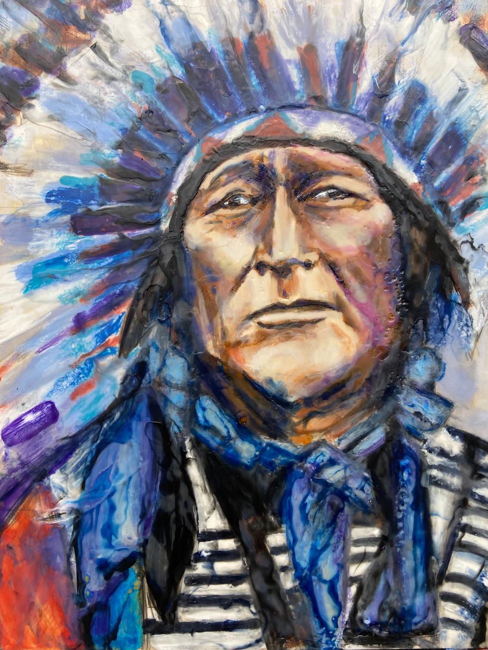 Chief Iron Shell, Encaustic wax portrait, 16x20, alison fullerton art