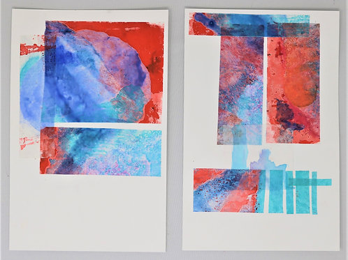 Sea Bubbles-- a pair of 2 encaustic monoprints mounted on cardstock