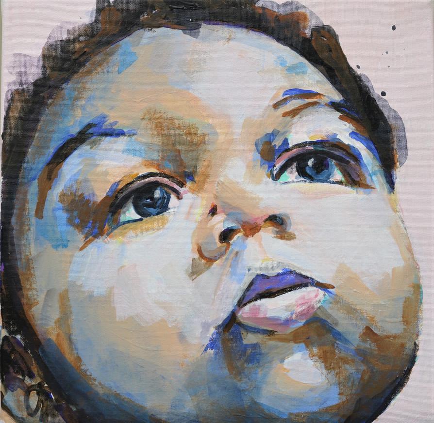 Zoom Baby, acrylic portrait, Alison Fullerton Art