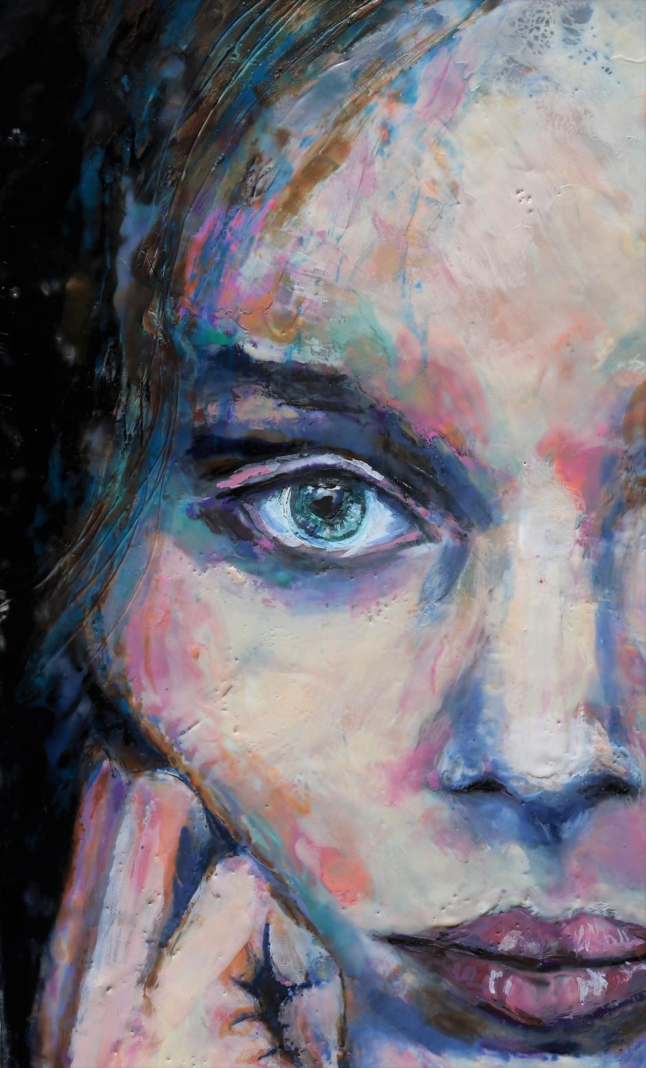 Languishing (close up). Encaustic wax portrait.