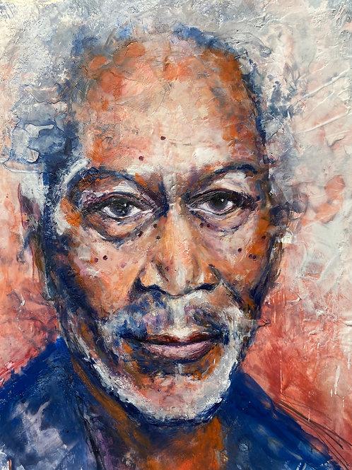 Morgan Freeman, encaustic wax, 18x24.
