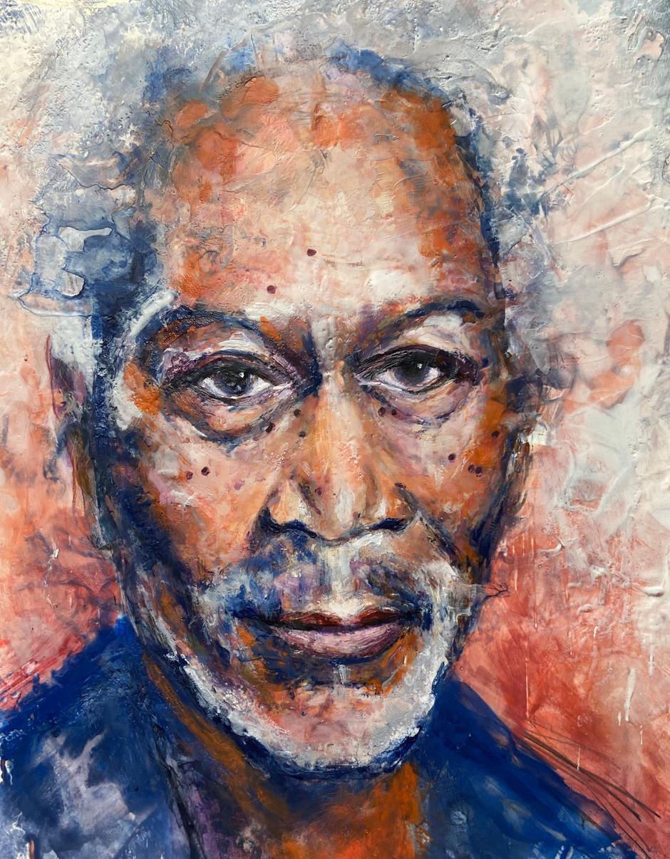 Morgan Freeman portrait, encaustic wax, 18x24, alison fullerton art
