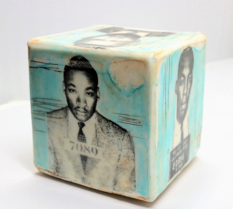"Fullerton MugBlocks Freedom Fighters. 5"" cubes, encaustic"