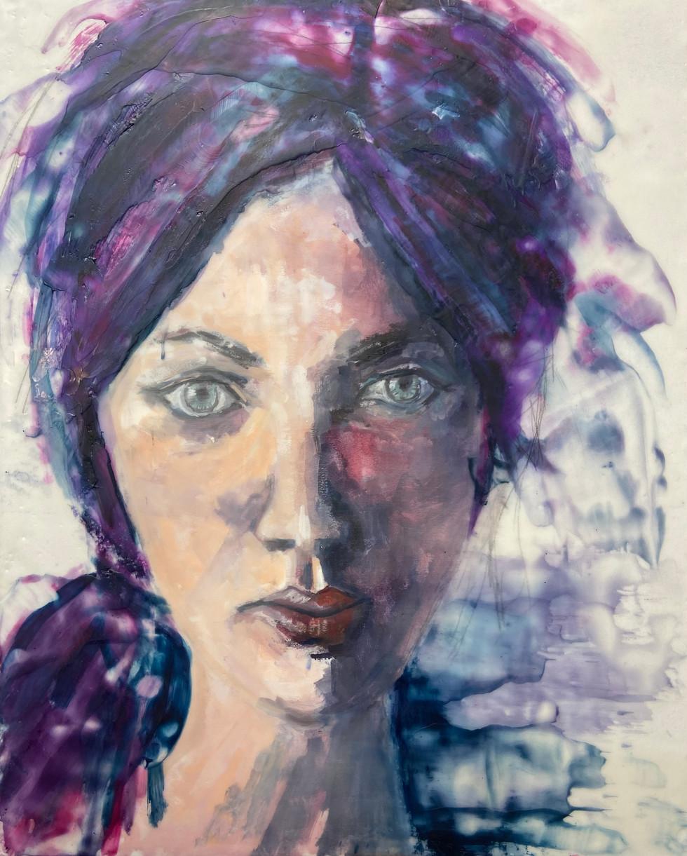 Alone Not Lonely, encaustic wax portrait, 16x20, Alison Fullerton Art