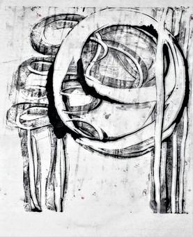 'Hozho.' encaustic monoprint on rice pap
