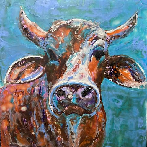 Cathy's Cows, encauastic wax 16x16