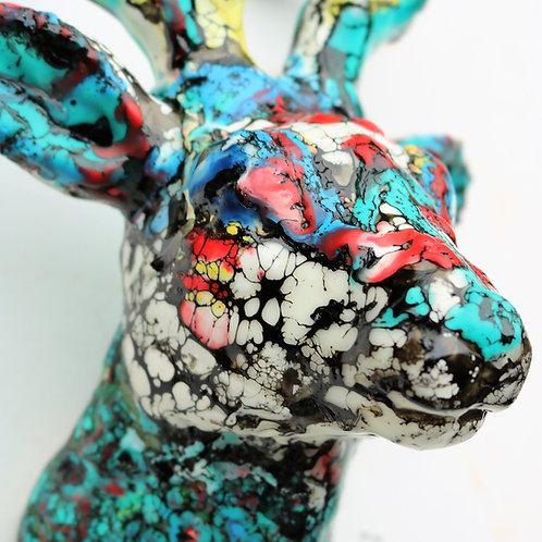 Deer head wall art. Encaustic wax. 7x5x4. Ready to mount on wall