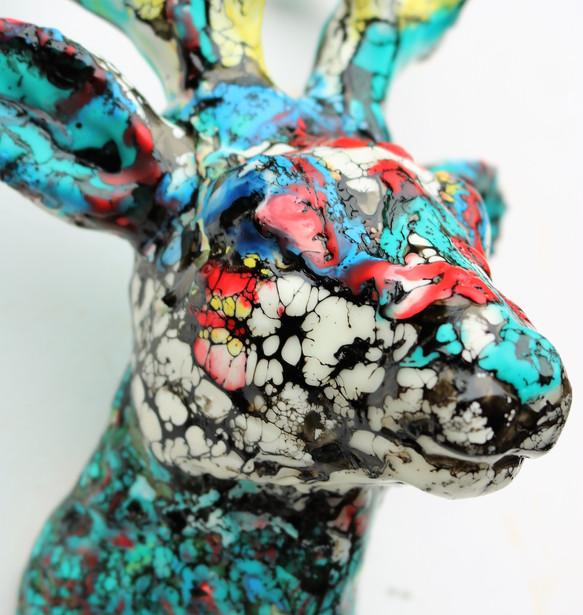 Encaustic Deer Head close up