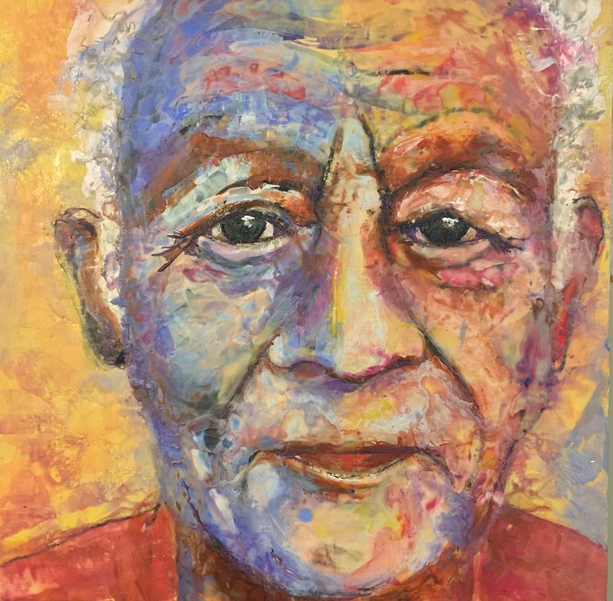 The Healer. Encaustic wax portrait 16x16, alison fullerton art